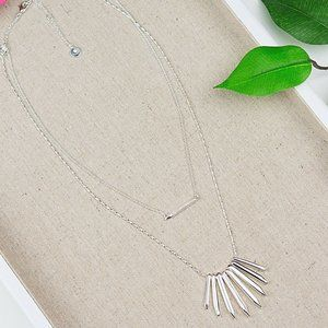 Stella & Dot Rebel Cluster Silver Layered Necklace